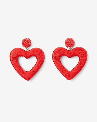 Express Womens Thread Wrapped Heart Drop Earrings