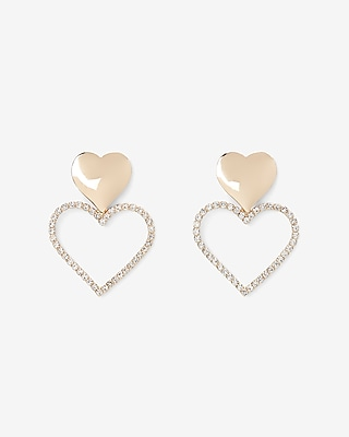 Express Womens Embellished Double Heart Drop Earrings