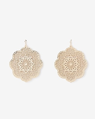 Express Womens Scalloped Glitter Filigree Drop Earrings