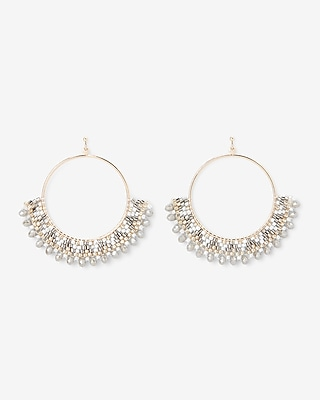 Express Womens Pattern Beaded Circle Drop Earrings
