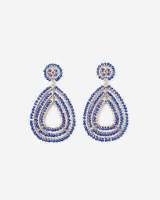 Express Womens Wrapped Beaded Teardrop Earrings