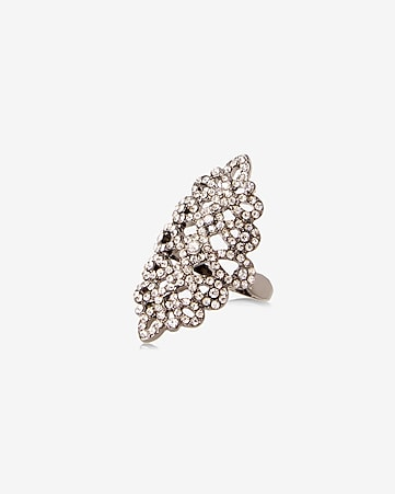 pave scroll ring