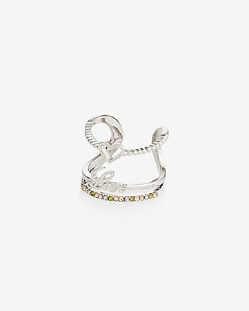 love heart band ring