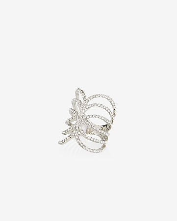 pave crisscross ring