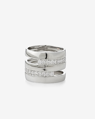 Express Womens Cut-Out Wide Pave Metal Ring