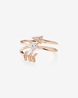 Express Womens Embellished Arrow Wrap Ring