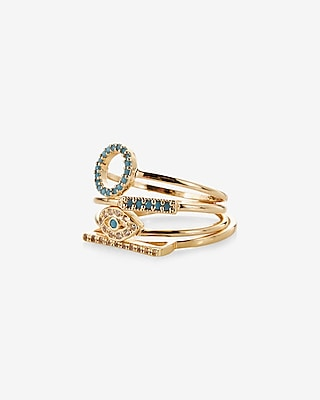 Express Womens Set Of Four Embellished Geometric Rings