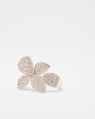 Express Womens Cubic Zirconia Flower Cocktail Ring