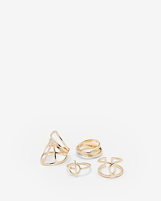 Express Womens Set Of Four Cut-Out Rings