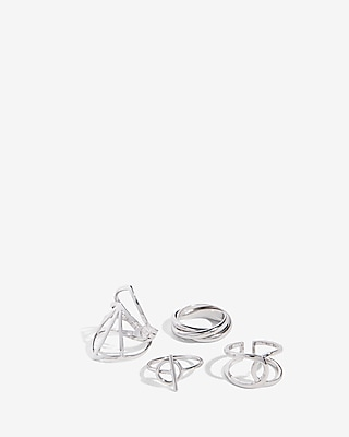 Express Womens Set Of Four Cut-Out Rings Silver Women's 6 Silver 6