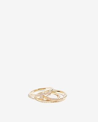 Express Womens Set Of Three Pave Rings