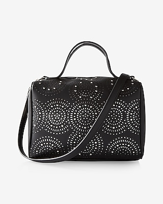 Express Womens Perforated Studded Barrel Satchel