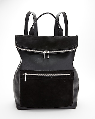 Express Womens Genuine Suede & Faux Leather Backpack