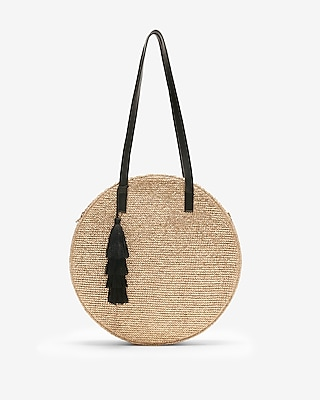 Express Womens Round Straw Tote