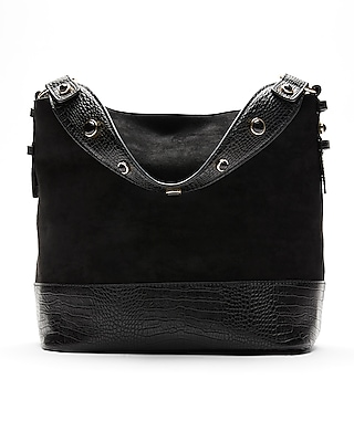 Express Womens Crocodile Pattern Strap Hobo Black Women's  Black