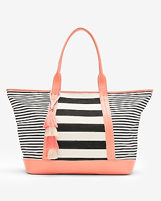 Express Womens Striped Canvas Tote