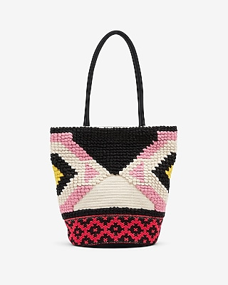 Express Womens Multi-Color Fabric Tote