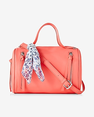 Express Womens Scarf Embellished Mini Barrel Satchel Pink
