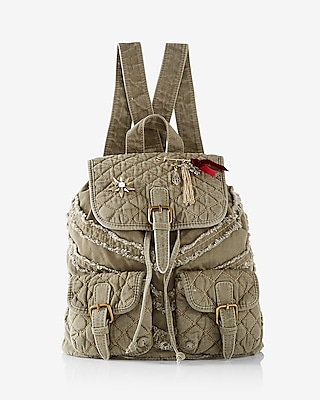 Express Womens Quilted Embellished Drawstring Backpack