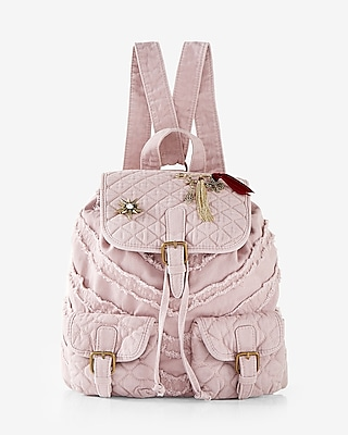 Express Womens Quilted Embellished Drawstring Backpack Neutral Women's  Neutral