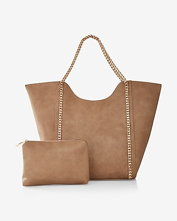 street level chain handle tote with wristlet