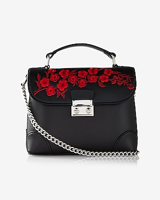 Express Womens Floral Embroidery Top Handle Cross Body Bag