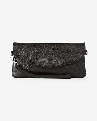 Express Womens Street Level Metallic Fold-Over Leather Clutch Black Women's  Black