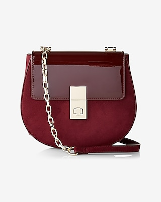Patent Turnlock Cross Body Saddle Bag