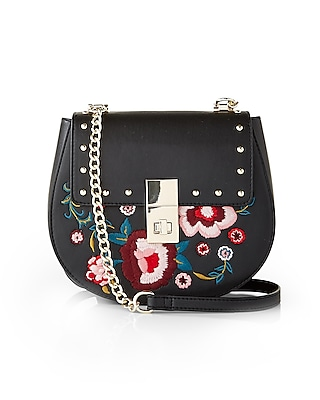 Express Womens Floral Embroidered Cross Body Bag