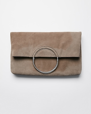 Express Womens Genuine Suede O-Ring Clutch