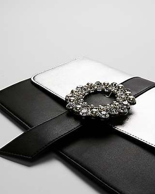 Express Womens Gem And Pearl Clutch