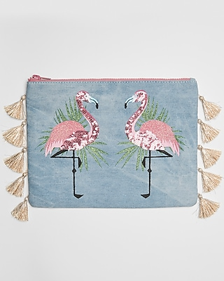 Express Womens Flamingo Tassel Pouch