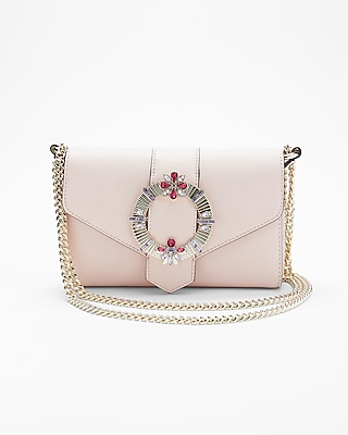Express Womens Embellished Buckle Chain Shoulder Bag