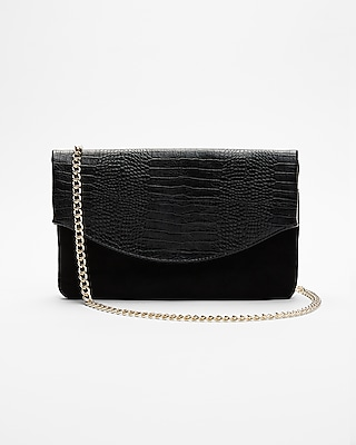Express Womens Chain Strap Fold Over Shoulder Bag Black Women's  Black