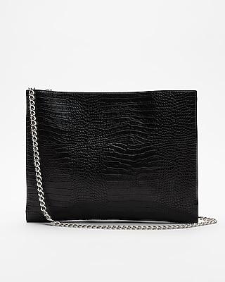 Express Womens Flat Crocodile Pattern Shoulder Bag