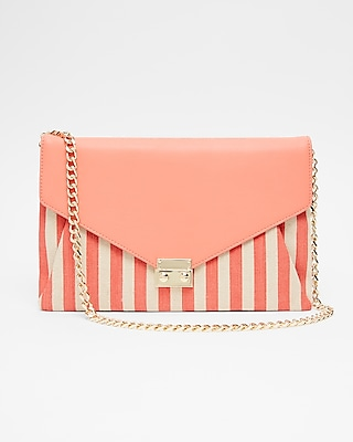 Express Womens Convertible Striped Canvas Clutch