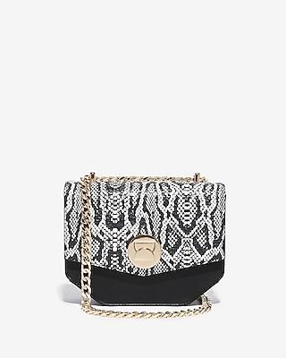 Express Womens Snake Print Turnlock Chain Shoulder Bag