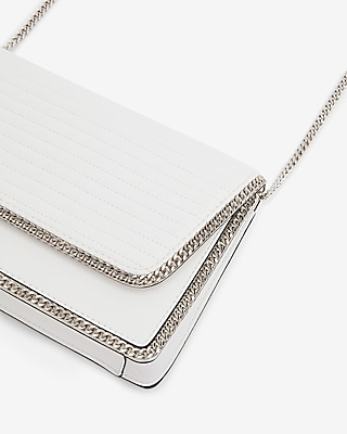 Express Womens Chain Detail Quilted Shoulder Bag White Women's  White