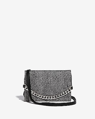 Express Womens Fabric Flap Chain Bag Black And White Women's  Black And White