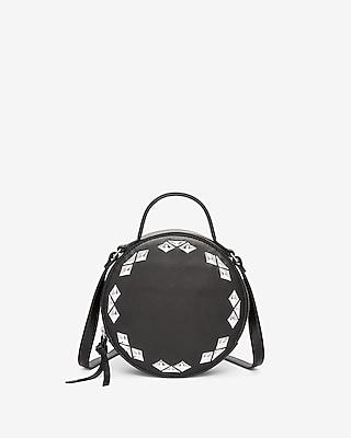 Express Womens Diamond Stud Circle Crossbody Bag
