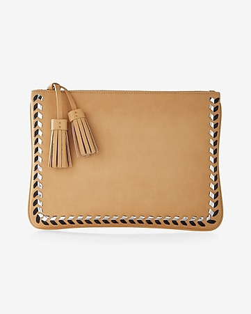metallic whipstitch clutch