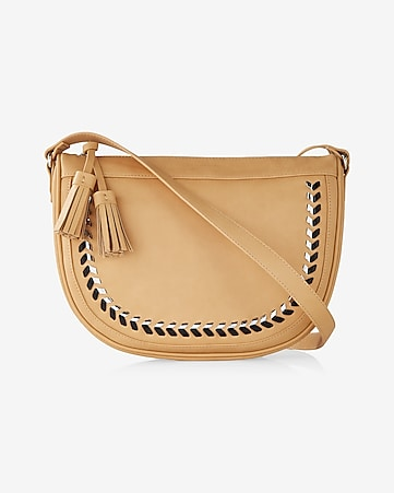 metallic whipstitch saddle cross body bag