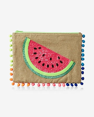 Express Womens Pom Trim Embellished Pouch Multi