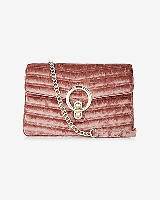 Express Womens Man Repeller Pick Velvet O-Ring Shoulder Bag