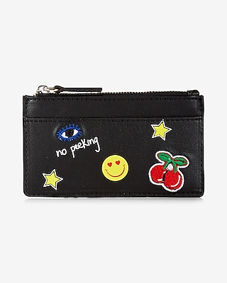 Express Womens Embroidered Patch Credit Card Holder