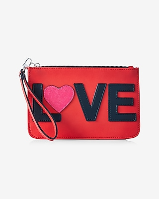 Express Womens Love Zip Up Wristlet