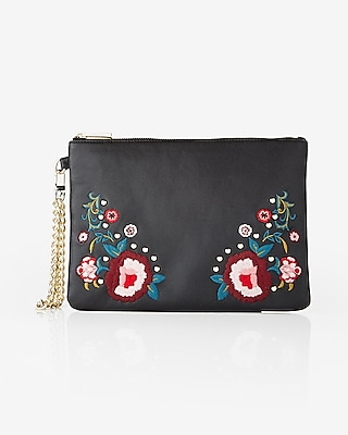 Express Womens Floral Embroidered Wristlet
