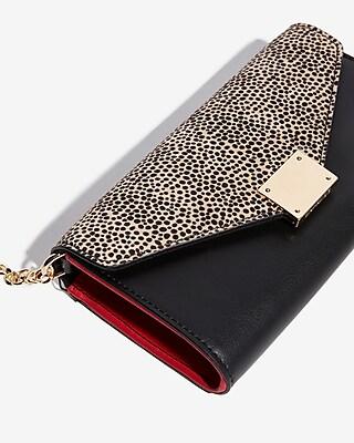 Express Womens Cheetah Chain Strap Wallet