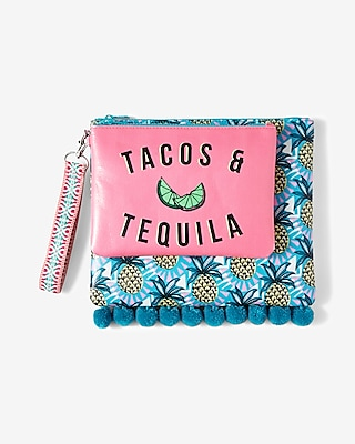 Express Womens Express Womens Set Of Two Tacos And Tequila Beach Pouches Multi