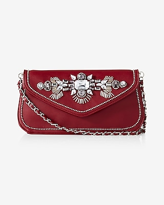 Express Womens Jewel Flap Convertible Clutch at Express